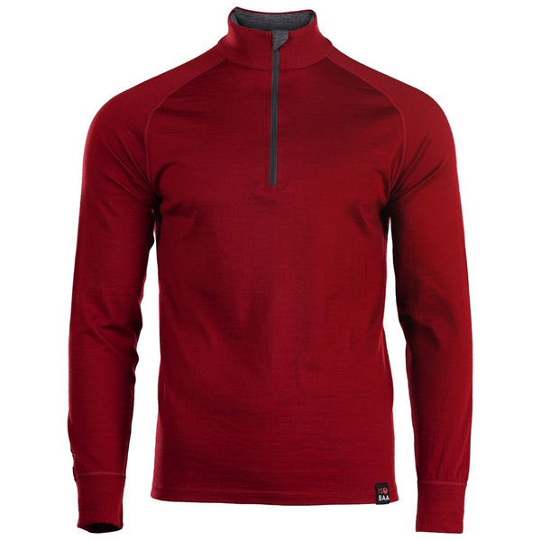 Mens Merino 200 Long Sleeve Zip Neck (Red)