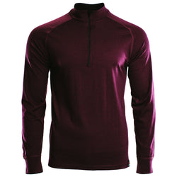 Mens Merino 200 Long Sleeve Zip Neck (Wine)
