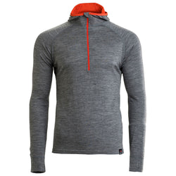 Mens Merino 200 Zip Neck Hoodie (Charcoal)