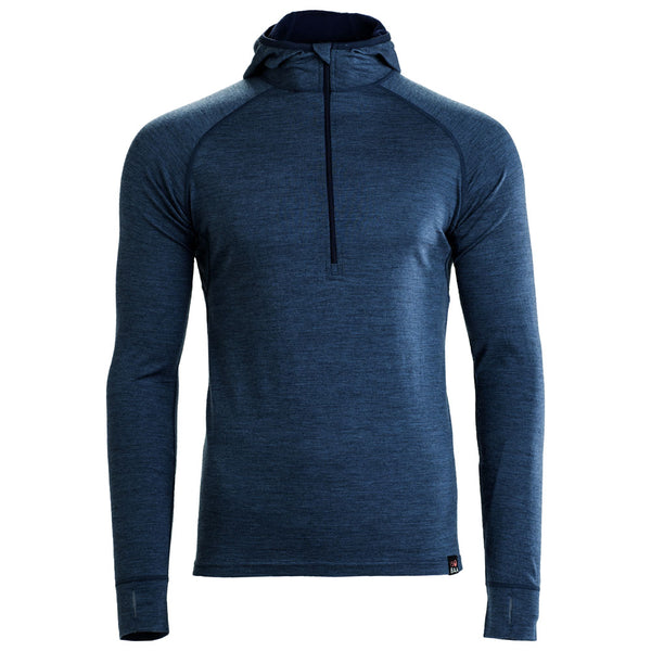 Mens Merino 200 Zip Neck Hoodie (Denim)