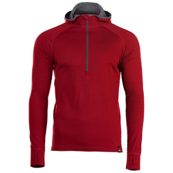 Mens Merino 200 Zip Neck Hoodie (Red)