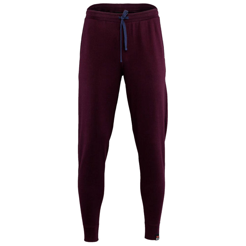 Mens Merino 260 Lounge Cuffed Joggers (Wine/Navy)