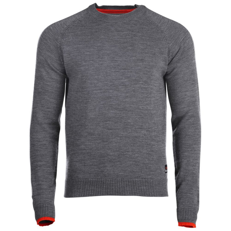 Mens Merino Crew Sweater (Charcoal/Orange)