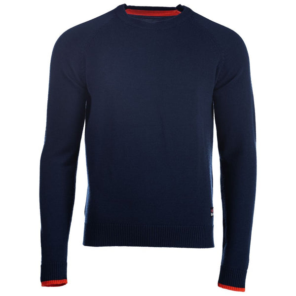 Mens Merino Crew Sweater (Navy/Orange)