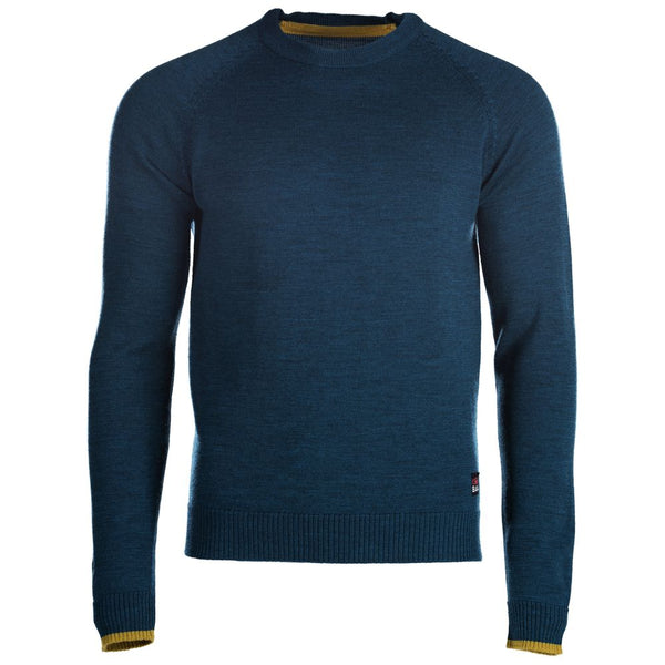 Mens Merino Crew Sweater (Petrol/Lime)