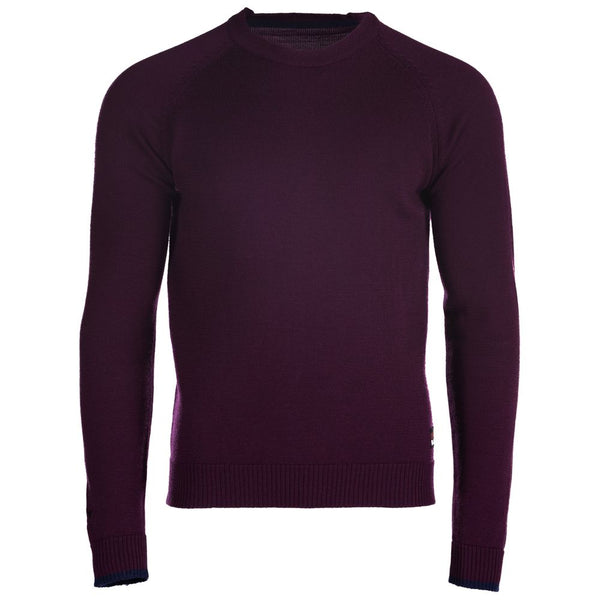 Mens Merino Crew Sweater (Wine/Navy)