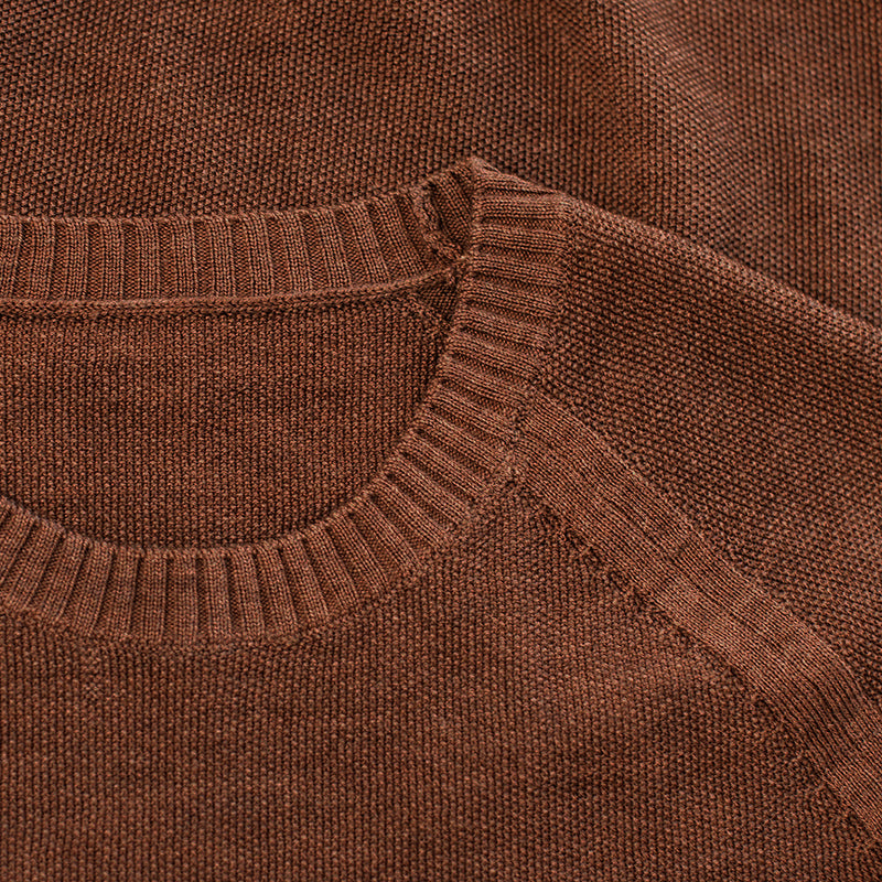 Mens Merino Moss Stitch Sweater (Bran/Orange)
