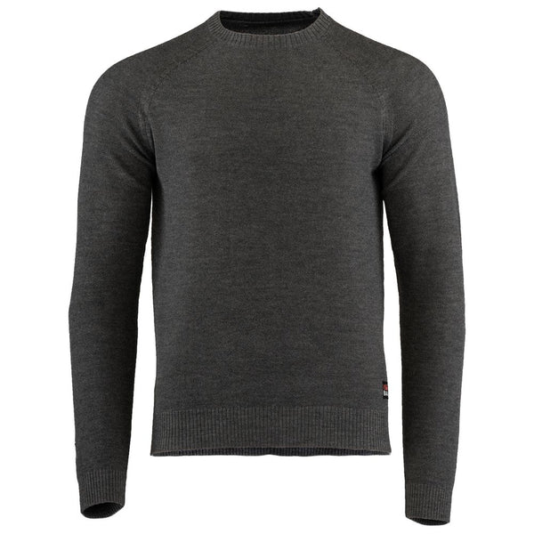Mens Merino Moss Stitch Sweater (Smoke/Charcoal)