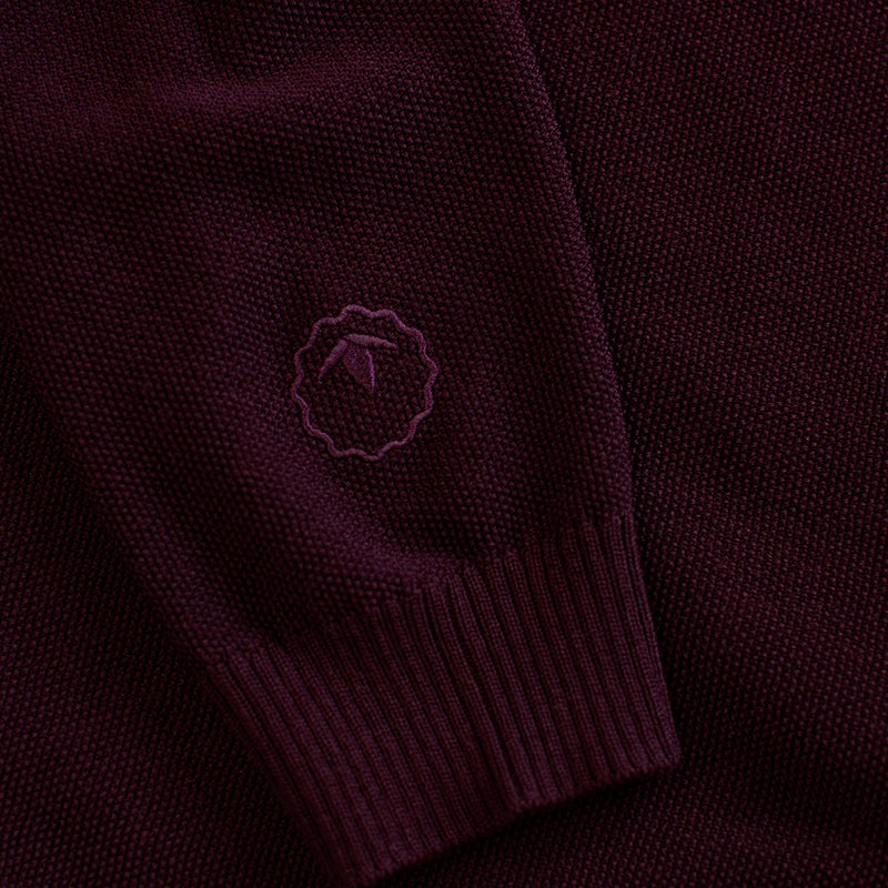Mens Merino Moss Stitch Sweater (Wine/Smoke)