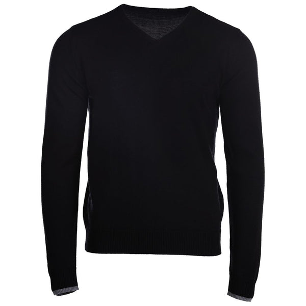 Mens Merino V Neck Sweater (Black)