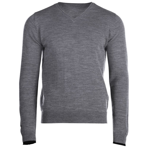 Mens Merino V Neck Sweater (Charcoal)