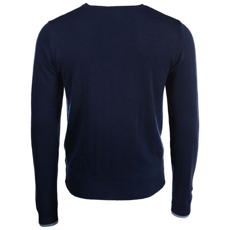 Mens Merino V Neck Sweater (Navy)