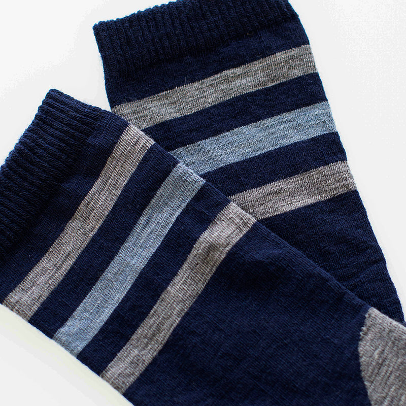 Merino Blend Everyday Socks (Banded Navy/Charcoal)