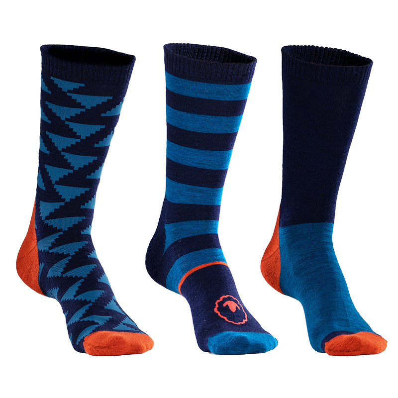 Merino Blend Everyday Socks (3 Pack - Navy/Blue)