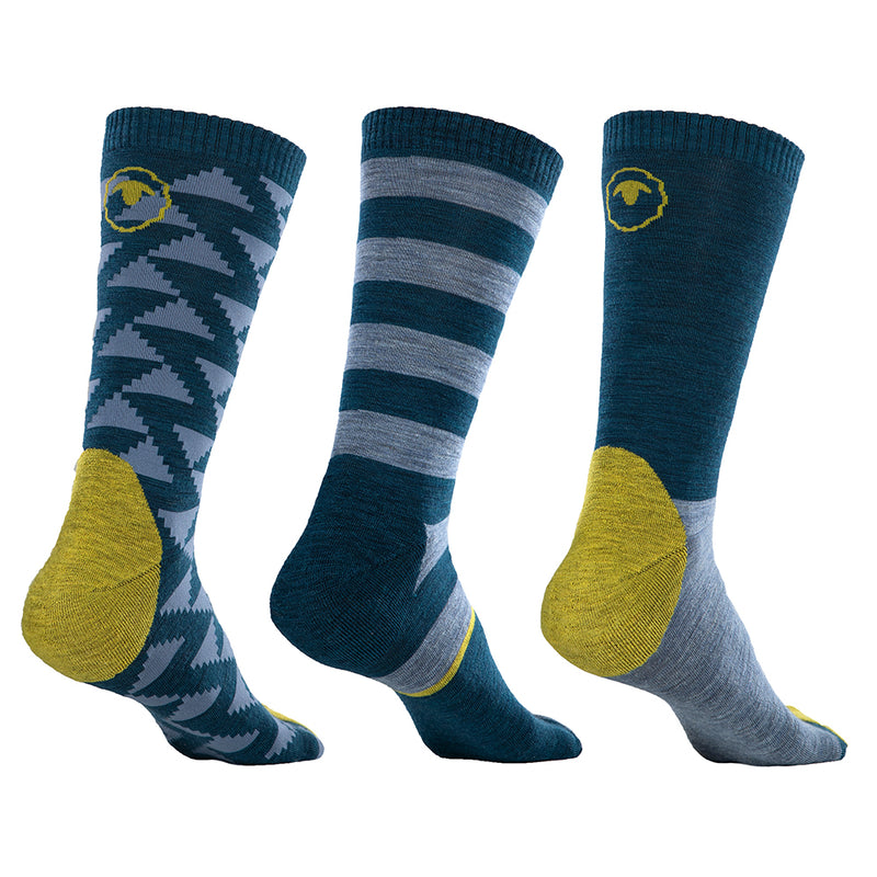 Merino Blend Everyday Socks (3 Pack - Petrol/Sky)