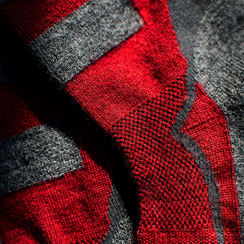 Merino Blend Ski Socks (Red/Smoke)