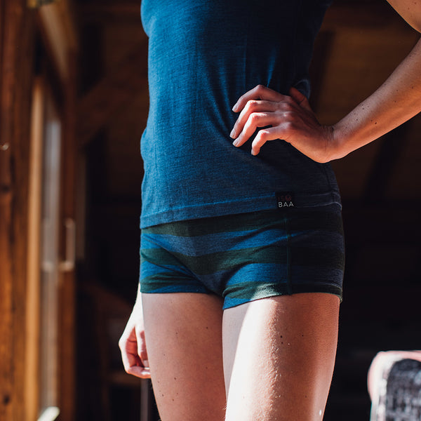 Womens Merino 180 Hipster Shorts (Forest/Denim)