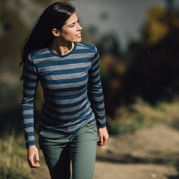 Womens Merino 180 Long Sleeve Crew (Denim/Charcoal)