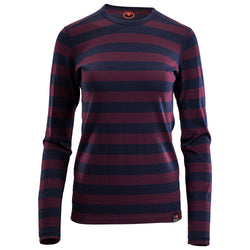 Womens Merino 180 Long Sleeve Crew (Navy/Wine)