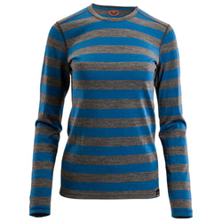 Womens Merino 180 Long Sleeve Crew (Smoke/Blue)