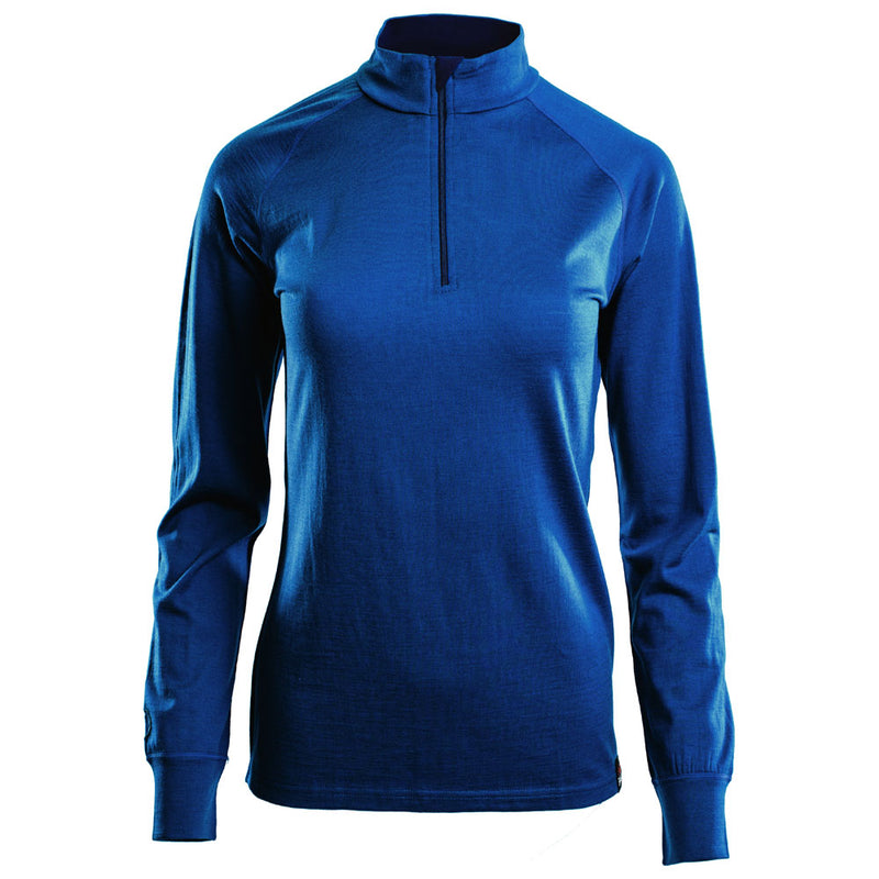 Womens Merino 200 Long Sleeve Zip Neck (Blue)