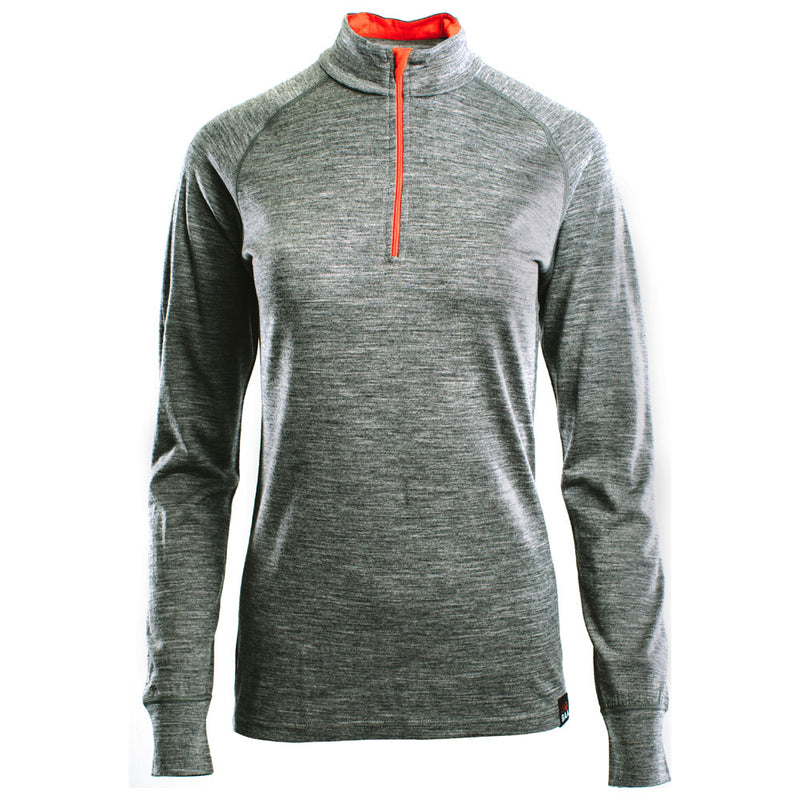 Womens Merino 200 Long Sleeve Zip Neck (Charcoal)