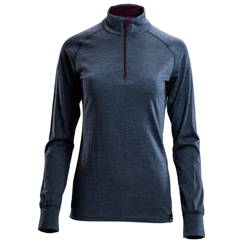 Womens Merino 200 Long Sleeve Zip Neck (Denim)