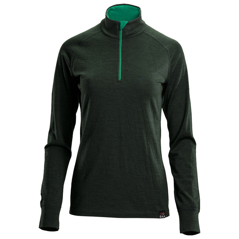 Womens Merino 200 Long Sleeve Zip Neck (Forest)