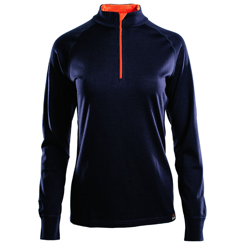 Womens Merino 200 Long Sleeve Zip Neck (Navy)