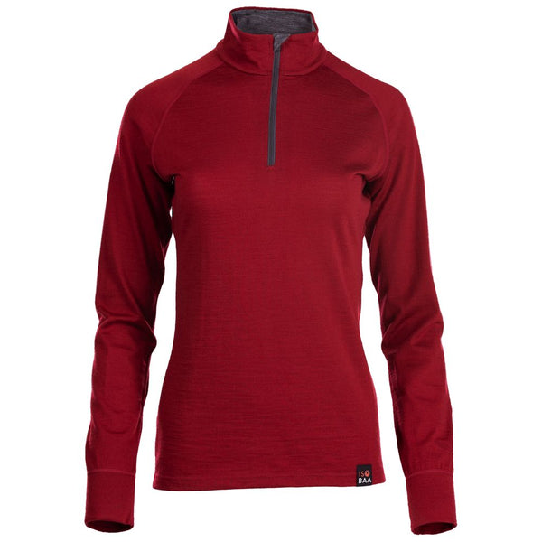 Womens Merino 200 Long Sleeve Zip Neck (Red)