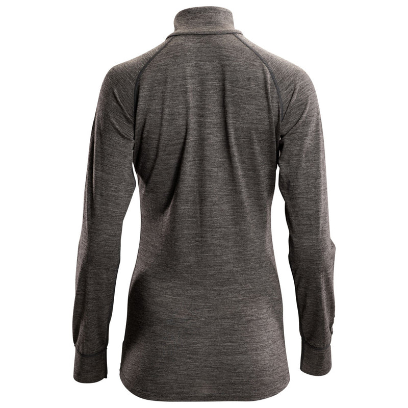 Womens Merino 200 Long Sleeve Zip Neck (Smoke)