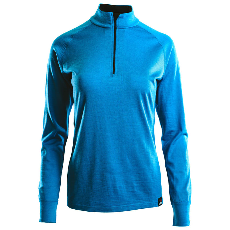 Womens Merino 200 Long Sleeve Zip Neck (Turquoise)