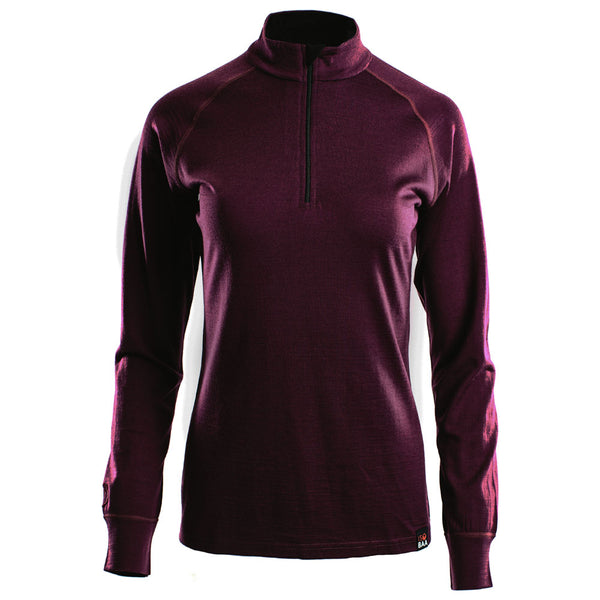Womens Merino 200 Long Sleeve Zip Neck (Wine)