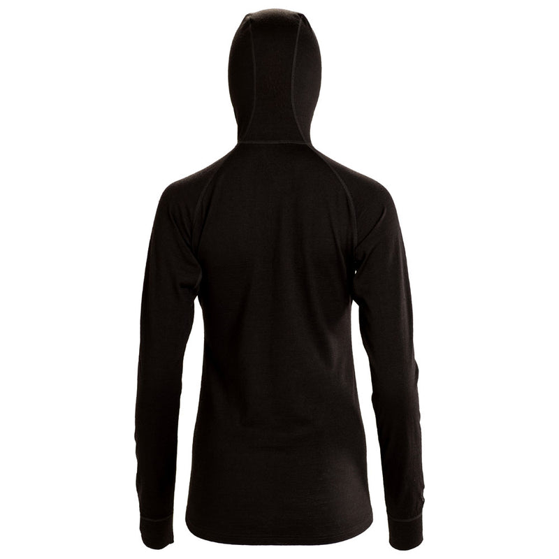 Womens Merino 200 Zip Neck Hoodie (Black)