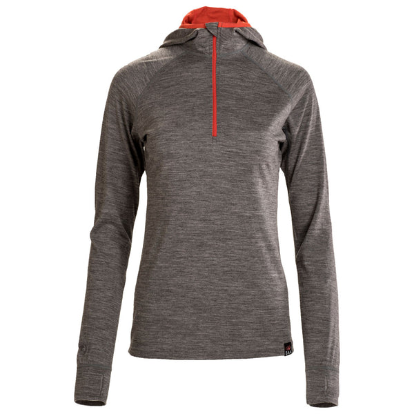Womens Merino 200 Zip Neck Hoodie (Charcoal)