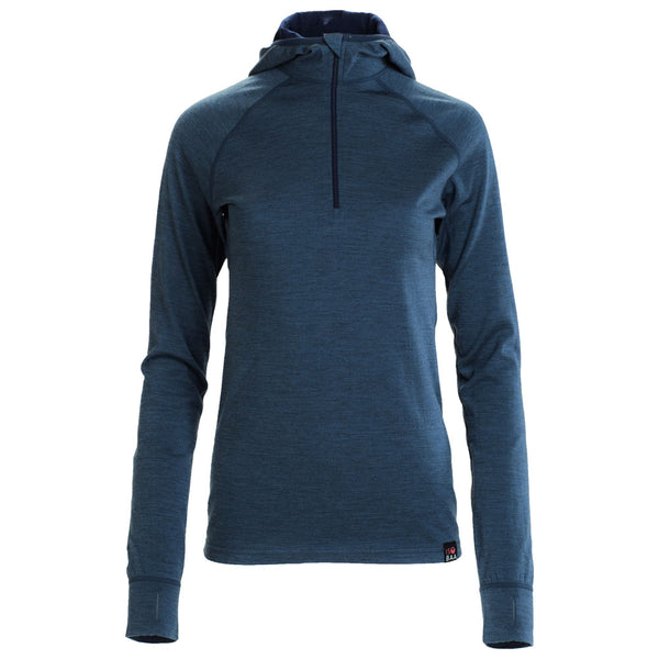 Womens Merino 200 Zip Neck Hoodie (Denim)