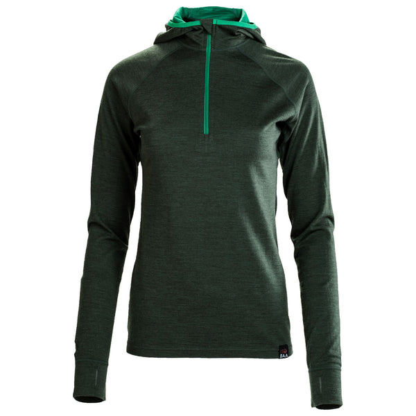 Womens Merino 200 Zip Neck Hoodie (Forest)