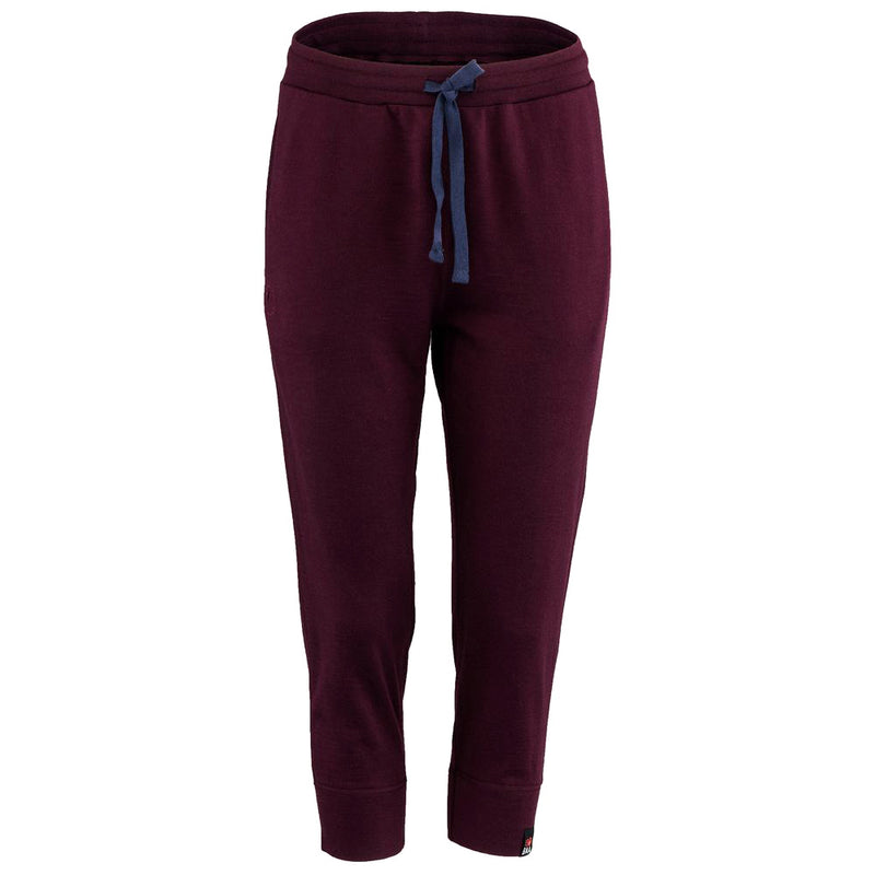 Womens Merino 260 Lounge Cuffed 3/4 Joggers (Wine/Navy)