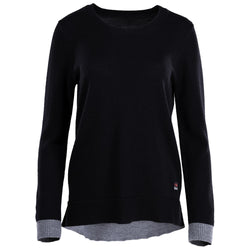 Womens Merino Crew Sweater (Black/Charcoal)