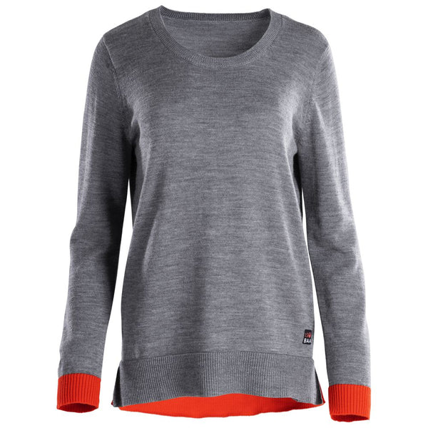Womens Merino Crew Sweater (Charcoal/Orange)