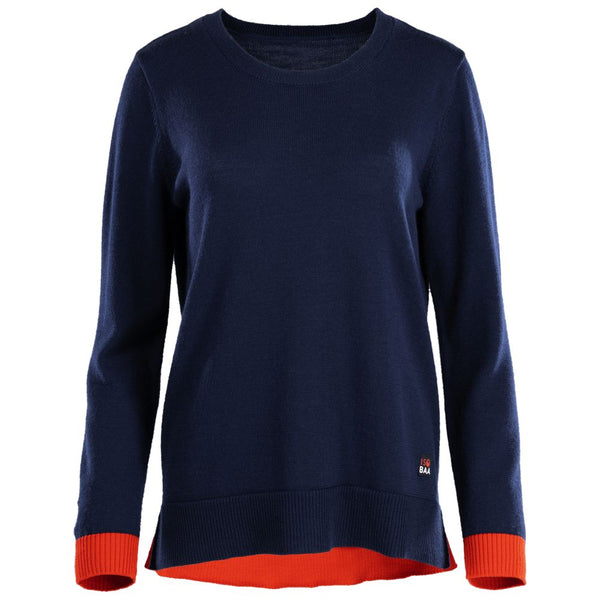 Womens Merino Crew Sweater (Navy/Orange)