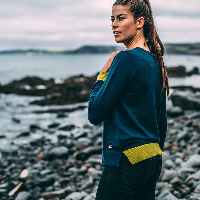 Womens Merino Crew Sweater (Petrol/Lime)