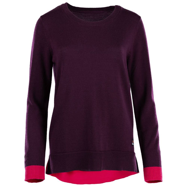 Womens Merino Crew Sweater (Wine/Fuchsia)