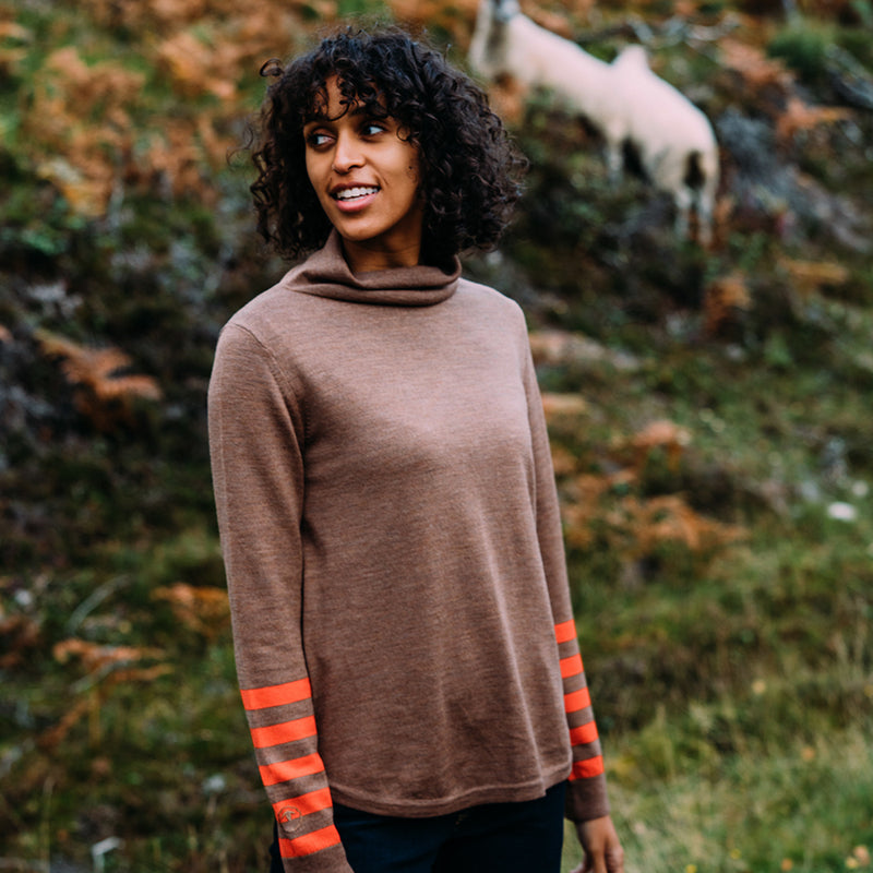 Womens Merino Roll Neck Sweater (Bran/Orange)