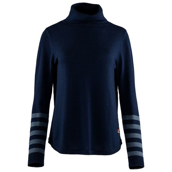 Womens Merino Roll Neck Sweater (Navy/Denim)