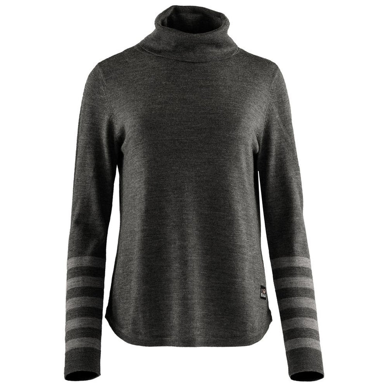 Womens Merino Roll Neck Sweater (Smoke/Charcoal)