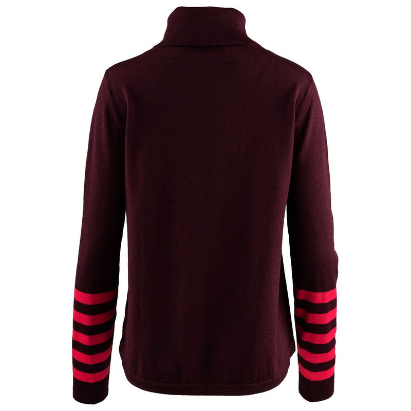 Womens Merino Roll Neck Sweater (Wine/Fuchsia)