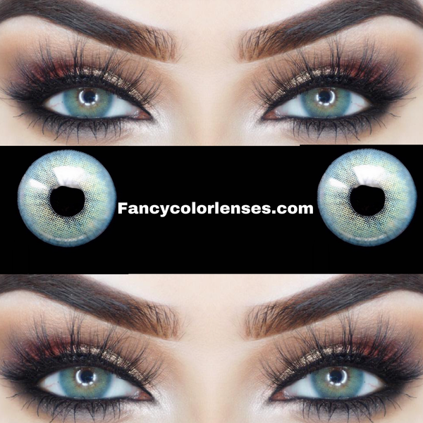 Blue colored contact for dark brown eyes