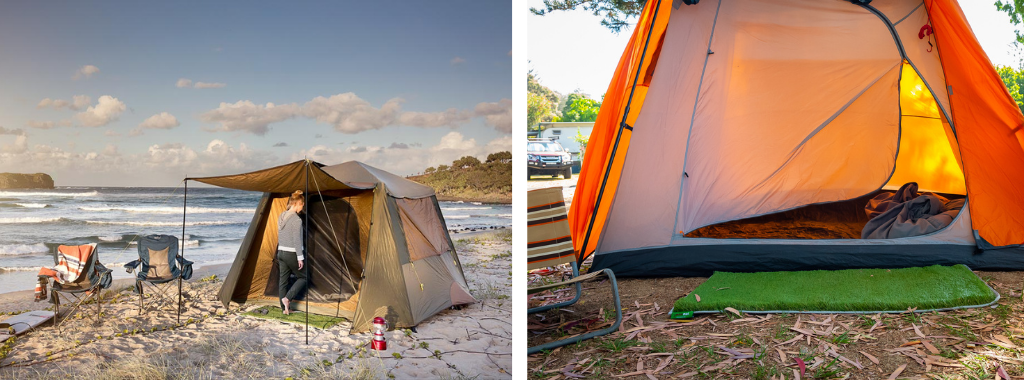 Split images. First image of camping floor mat placed in front of a swag. Second image of camping floor mat placed in front of a tent housing a couple of pairs of thongs.