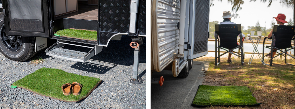 Split images. First image of caravan mat laid outside of pink caravan by a cute dog. Second image of young boy entering a caravan using two caravan mats to wipe his feet.